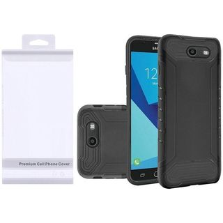 Insten Black Hard Snap-on Dual Layer Hybrid Case Cover For Samsung Galaxy Halo/ J7 (2017)/ J7 Perx/ J7 Prime/ J7 Sky Pro/ J7 V