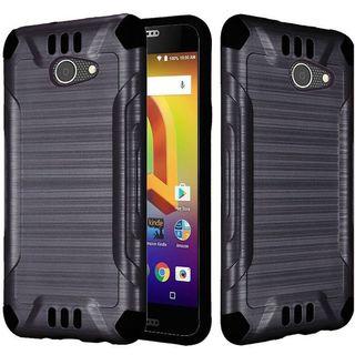 Insten Black Hard Snap-on Dual Layer Hybrid Brushed Case Cover For Alcatel A30/ Kora (Option: Purple)