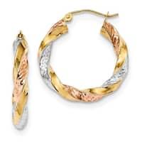 14 Karat Tri-color Polished & Diamond Cut Twist Hoop Earrings