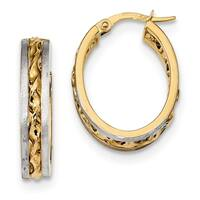 14 Karat WithRhodium-plated Satin Twisted Center Oval Hoop Earrings