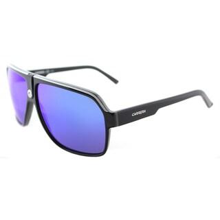 Carrera Carrera 33/S 8V6 Z0 Black Crystal Grey Plastic Aviator Sunglasses Blue Mirror Lens