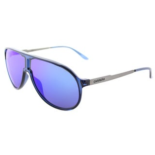 Carrera New Champion/S 8FS Blue Ruthenium Plastic Aviator Sunglasses Blue Mirror Lens