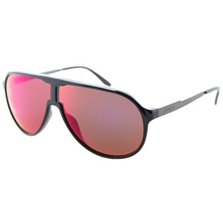 Carrera New Champion/S LB0 Black Dark Ruthnium Plastic Aviator Sunglasses Brown Infared Mirror Lens