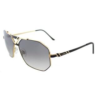 Cazal Cazal 9058 001SG Black Gold Metal Aviator Sunglasses Grey Gradient Lens