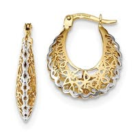 14 Karat Rhodium-plated Polished Filigree Hoop Earrings