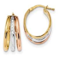 14 Karat Tri-Color Diamond Cut and Polished Hoop Earrings