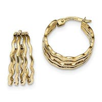 14 Karat Polished 4-bar Wavy Hoop Earrings