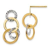 14 Karat Two-tone Polished Diamond Cut 4-Circle Post Dangle Earrings