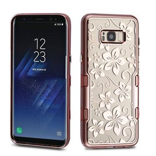 Insten Rose Gold/ Clear Hibiscus Flower Tuff Hard Snap-on Dual Layer Hybrid Case Cover For Samsung Galaxy S8
