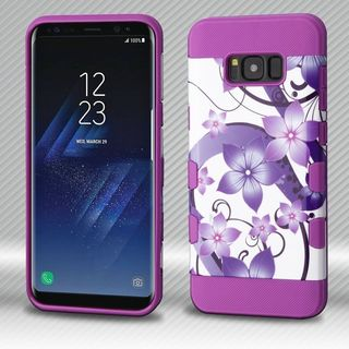 Insten Purple Hibiscus Flower Romance Tuff Hard Snap-on Dual Layer Hybrid Case Cover For Samsung Galaxy S8