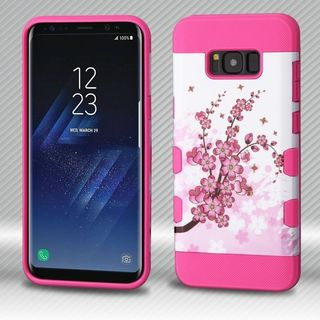 Insten Hot Pink/ White Spring Flowers Tuff Hard Snap-on Dual Layer Hybrid Case Cover For Samsung Galaxy S8