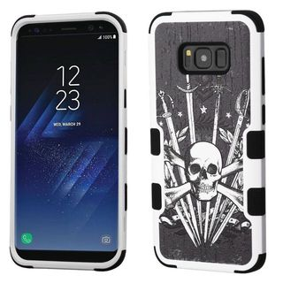 Insten Black/ White Sword  Skull Tuff Hard Snap-on Dual Layer Hybrid Case Cover For Samsung Galaxy S8