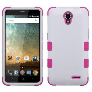 Insten White/ Hot Pink Tuff Hard Snap-on Dual Layer Hybrid Case Cover For ZTE Avid Plus/ Avid Trio/ Maven 2/ Prestige/ Sonata 3