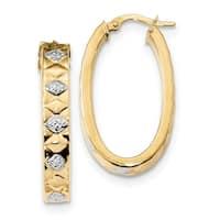 14 Karat with Rhodium Diamond-cut Oval Hoop Earrings