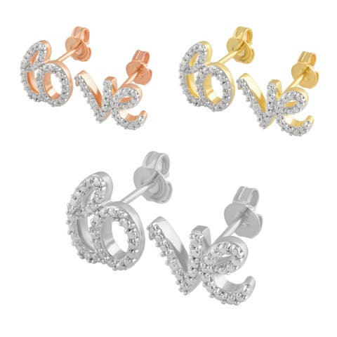 """Divina Silver Overlay, Rose and Yellow Goldtone Diamond Accent """"LO"""" and """"VE"""" Earring.(I-J/I2-I3)."""