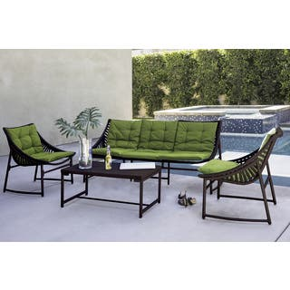 Handy Living Nico Indoor/Outdoor 4 Piece Dark Brown Sling Set with Cilantro Sunbrella Cushions|https://ak1.ostkcdn.com/images/products/16287271/P22653831.jpg?impolicy=medium