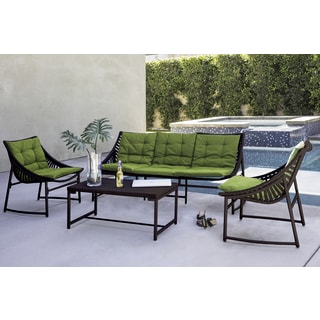 Handy Living Nico Indoor/Outdoor 4 Piece Dark Brown Sling Set With Cilantro  Sunbrella Cushions
