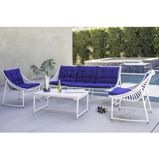Handy Living Nico Indoor/Outdoor 4 Piece White Sling Set with Pacific Blue Sunbrella Cushions