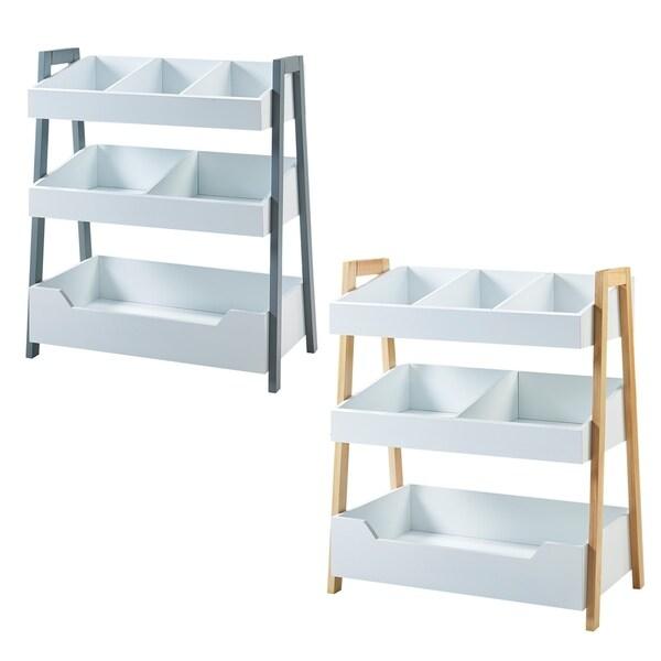 Versanora White Pulire Cube Shelf Natural Grey
