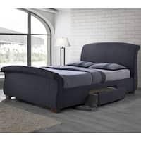 Modern Sleigh Design Upholstered Storage Bed