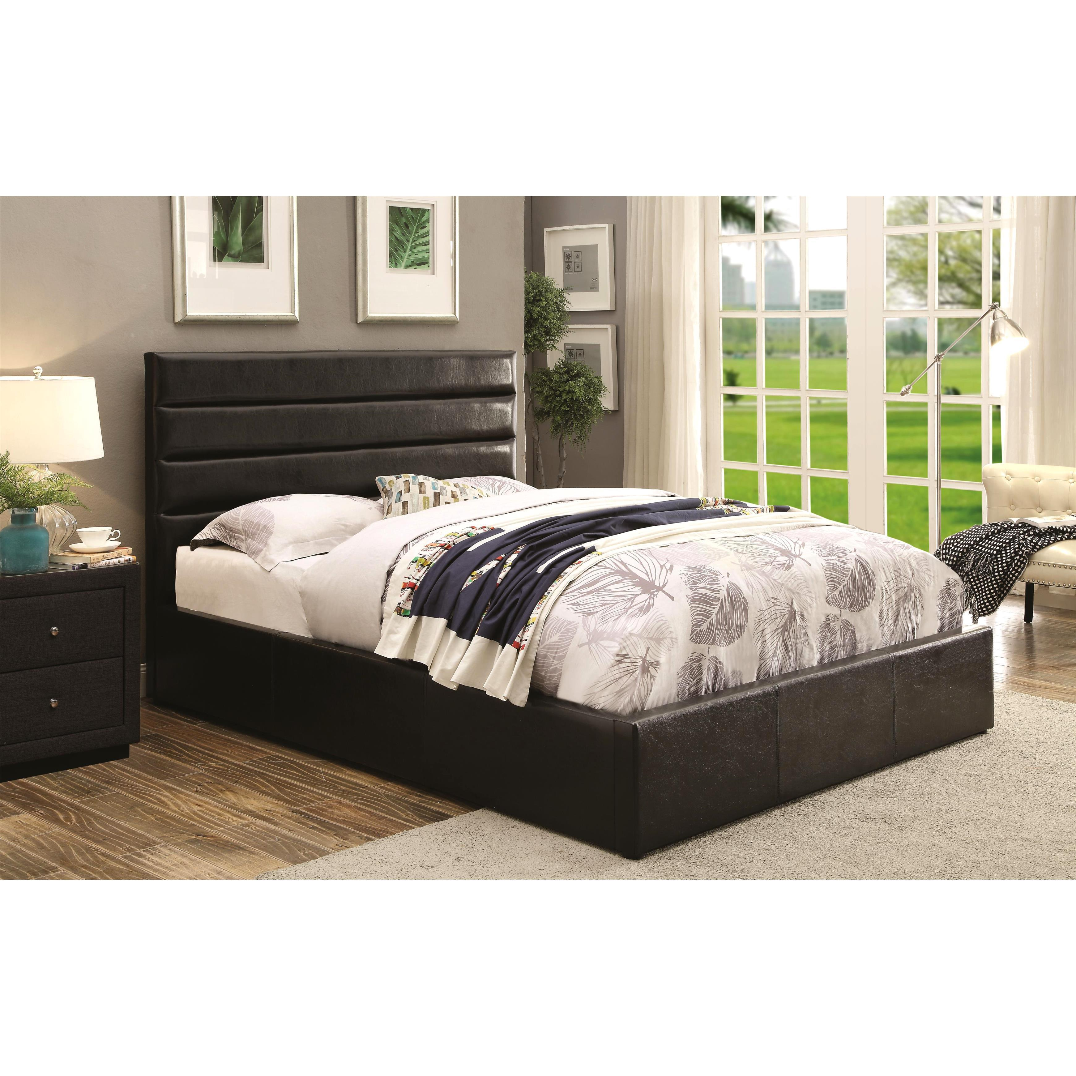 new concept f16df a4db9 Modern Design Upholstered Storage Bed with Padded Headboard