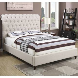 Modern Design Beige Upholstered Nailhead Trim Diamond Button Tufted  Headboard Bed