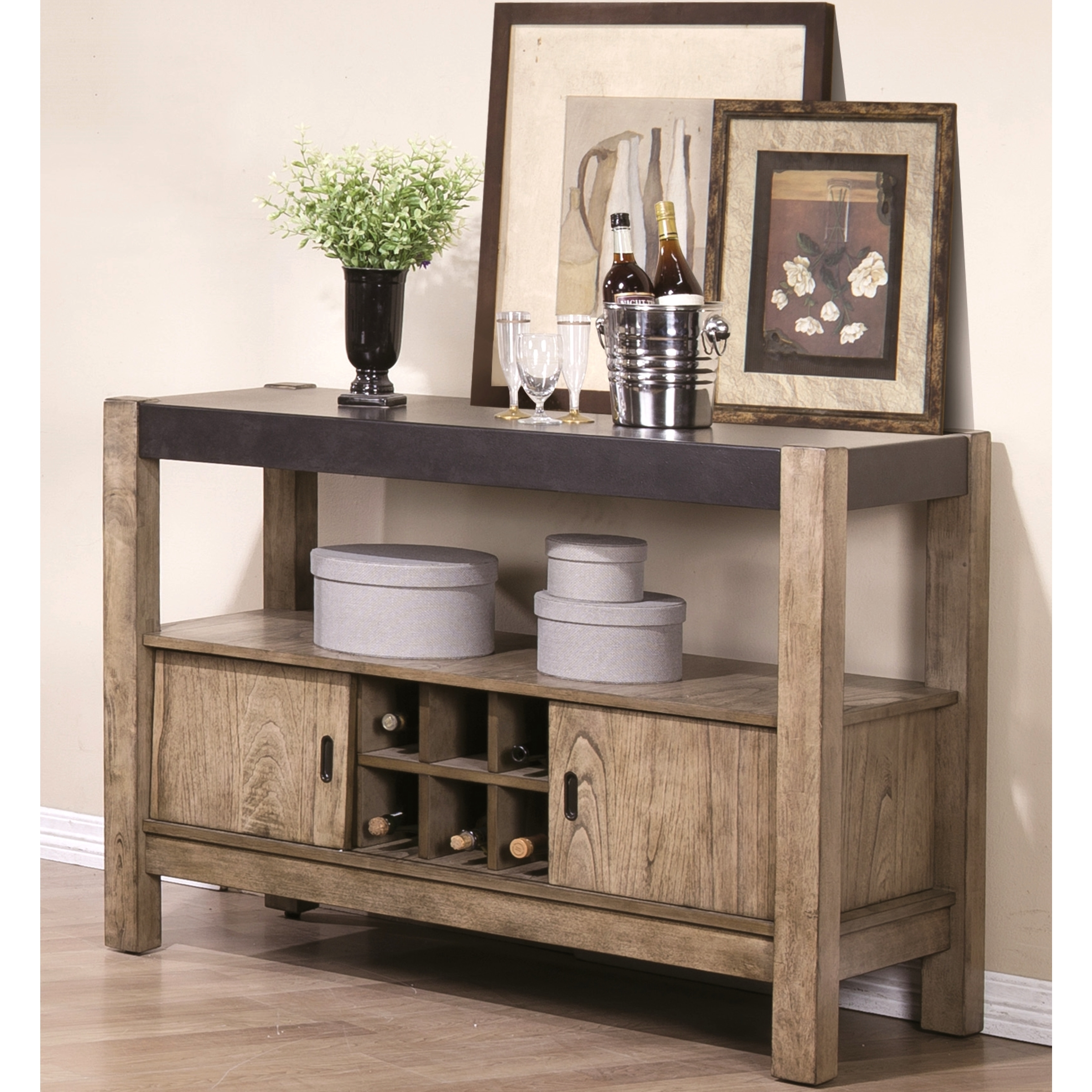 Dining Set With Buffet: Modern Rustic Concrete Design Dining Set With Wine Rack