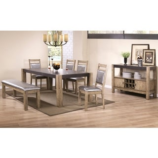 Modern Rustic Concrete Design Dining Set with Wine Rack Buffet Server