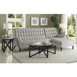 Retro Mid-Century Modern Style Grey Living Room Sectional Sofa