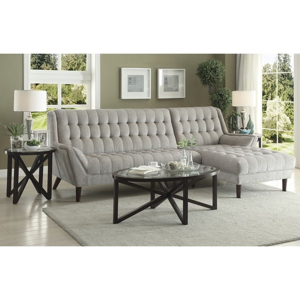 Retro Mid Century Modern Style Grey Living Room Sectional Sofa