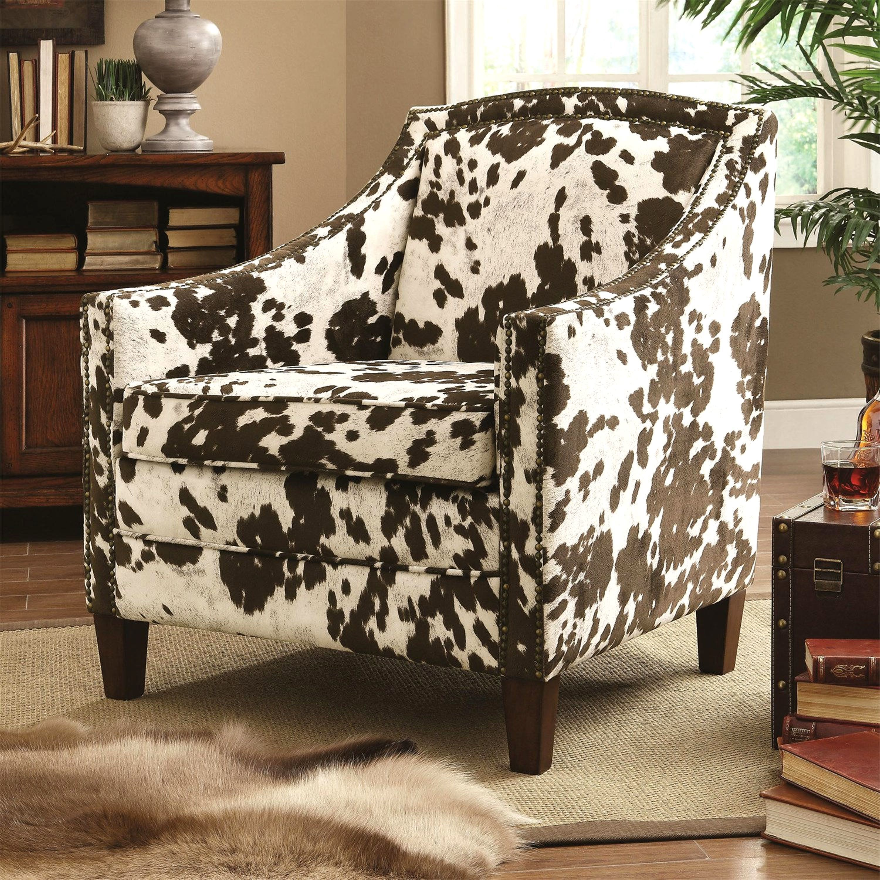 Chalina Rustic Styling Cowhide Design Accent Chair With Decorative Nailhead Trim