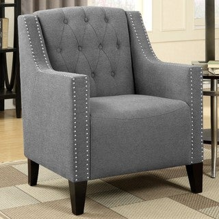 Contemporary Button Tufted Accent Chair with Double Nailhead Trim