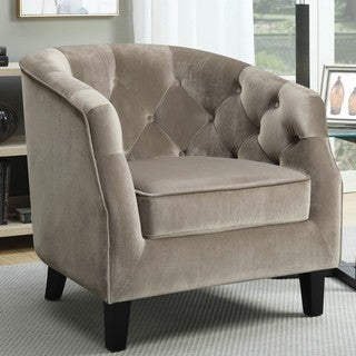 Contemporary Barrel Style Button Tufted Taupe Velvet Accent Chair