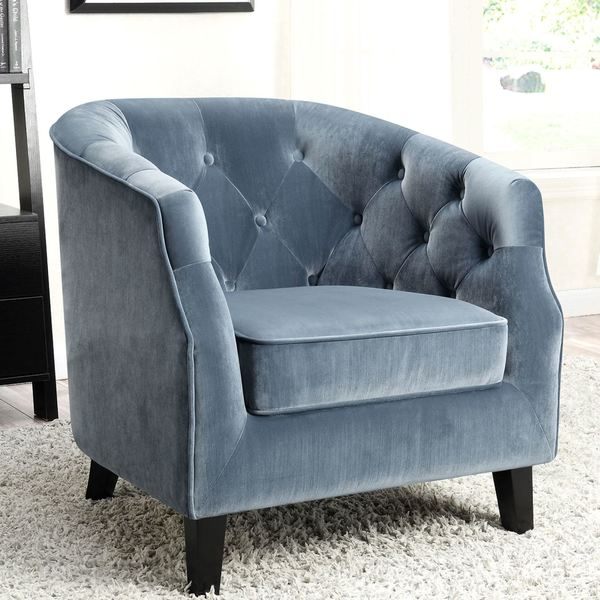Contemporary Barrel Style On Tufted Blue Velvet Accent Chair