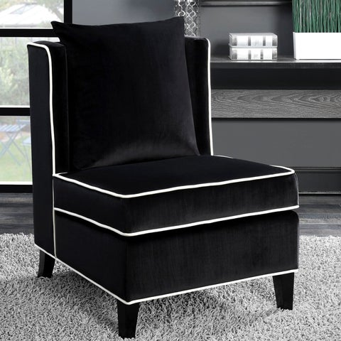 Living Room Black Velvet Accent Chair with White Piping