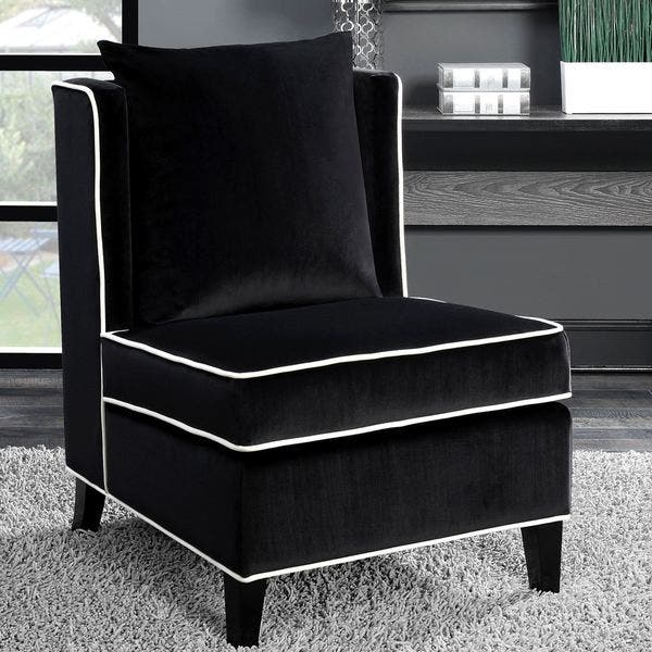 Shop Living Room Black Velvet Accent Chair with White Piping ...