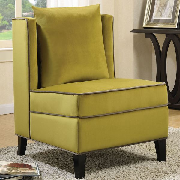 Merveilleux Living Room Yellow Velvet Accent Chair With Grey Piping
