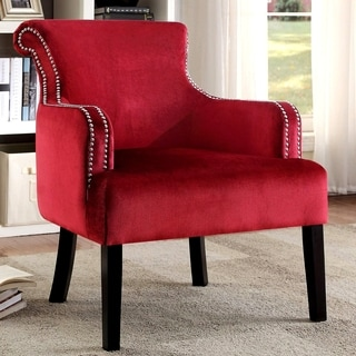 Living Room Red Velvet Accent Chair with Nailhead Trim