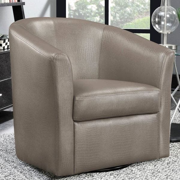 Contemporary Living Room Swivel Barrel Style Accent Chair Overstock 16287362