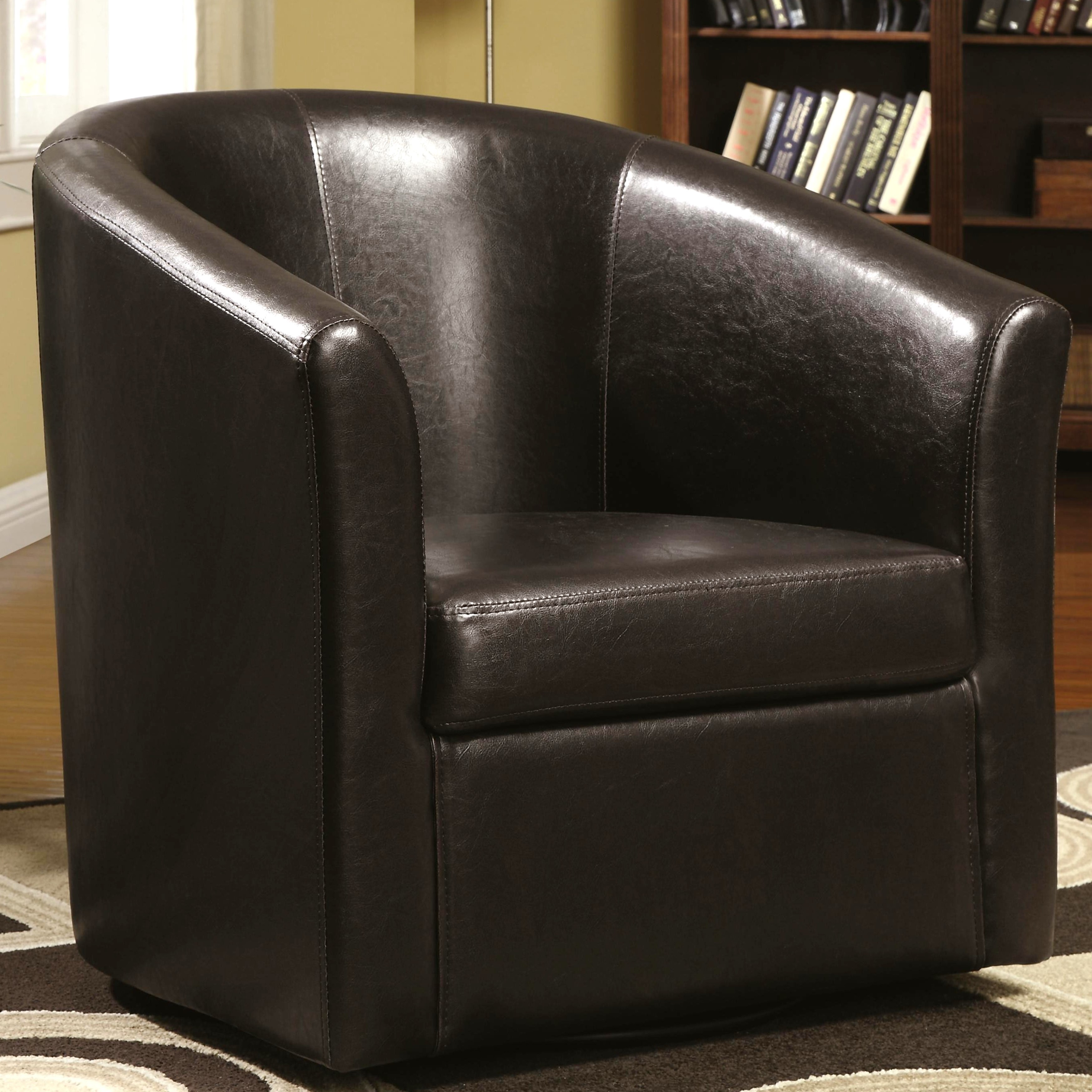 Living Room Barrel Style Upholstered Swivel Accent Chair (Dark Brown)