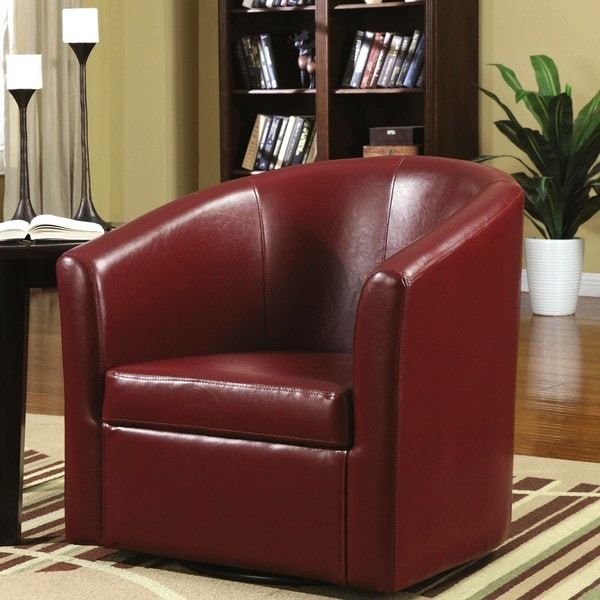 Shop Living Room Barrel Style Red Upholstered Swivel Accent ...