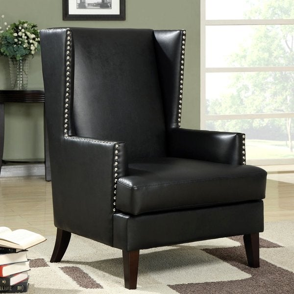 Shop Modern Wing Back Design Accent Chair With Nailhead