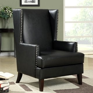 Modern Wing Back Design Accent Chair with Nailhead Trim