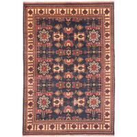 ecarpetgallery Hand-Knotted Finest Kargahi Blue  Wool Rug (6'8 x 9'8)