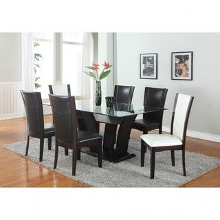 Brassex Ambrose Brown Wood and Glass 7-piece Dining Set