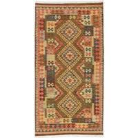 ecarpetgallery Flatweave Kashkoli  Red, Yellow  Wool Kilim (3'5 x 6'6)
