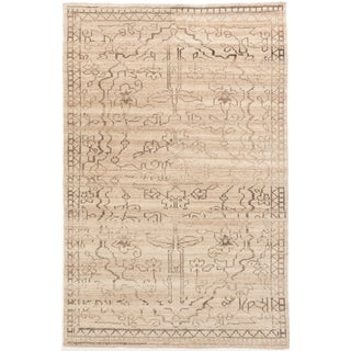 ecarpetgallery Hand-Knotted Mystique Gabbeh Ivory Wool Rug (5'1 x 7'10)