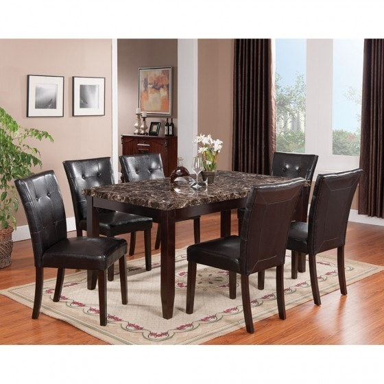 Brassex Valentino Black Wood 7 Piece Dining Set