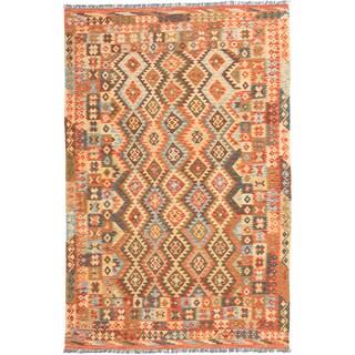 ecarpetgallery Flatweave Anatolian Brown, Yellow Wool Kilim (6'7 x 10'1)