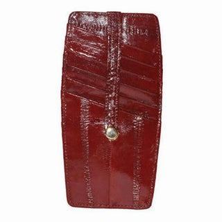 Snap Two Sided Embossed Eel Leather Credit Card Holder